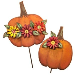 Metal Collection Fall Set Of Two Pumpkins